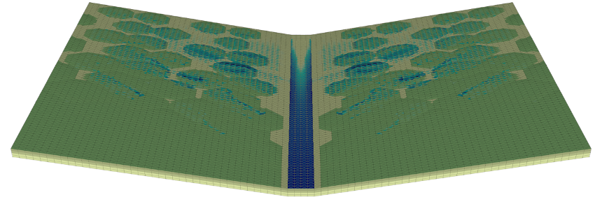 An example simulation showing a patterned ground with variable land cover (in greens) and surface water (in blues) during a rainstorm.  The green, organic-rich soil, thanks to a higher porosity, is able to store more water.  This changes the hydrologic re
